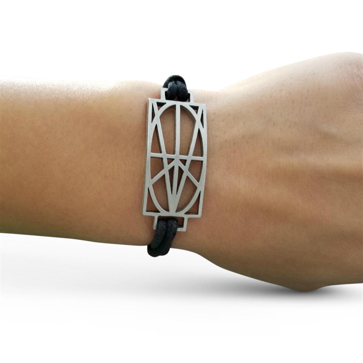 Picture of Women's Black Wrap & Tuck Bracelet - Large Zymbol